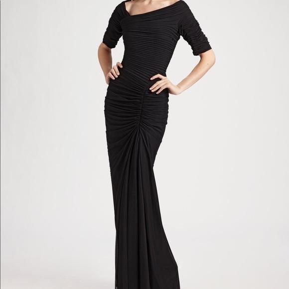 Tadashi Shoji Dresses | Black Asymmetrical Draped Mesh Gown | Poshmark